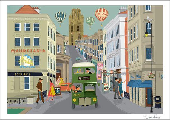 Park Street Bristol  A4 Print by Clareillustrates on Etsy, £25.00
