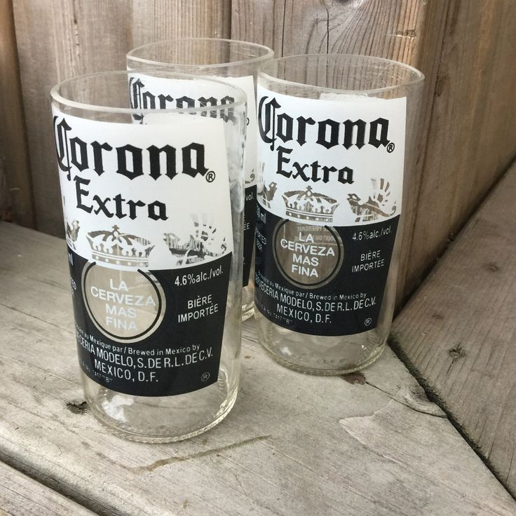 Corona upcycled drinking glasses set of 3 products i for How to make corona glasses