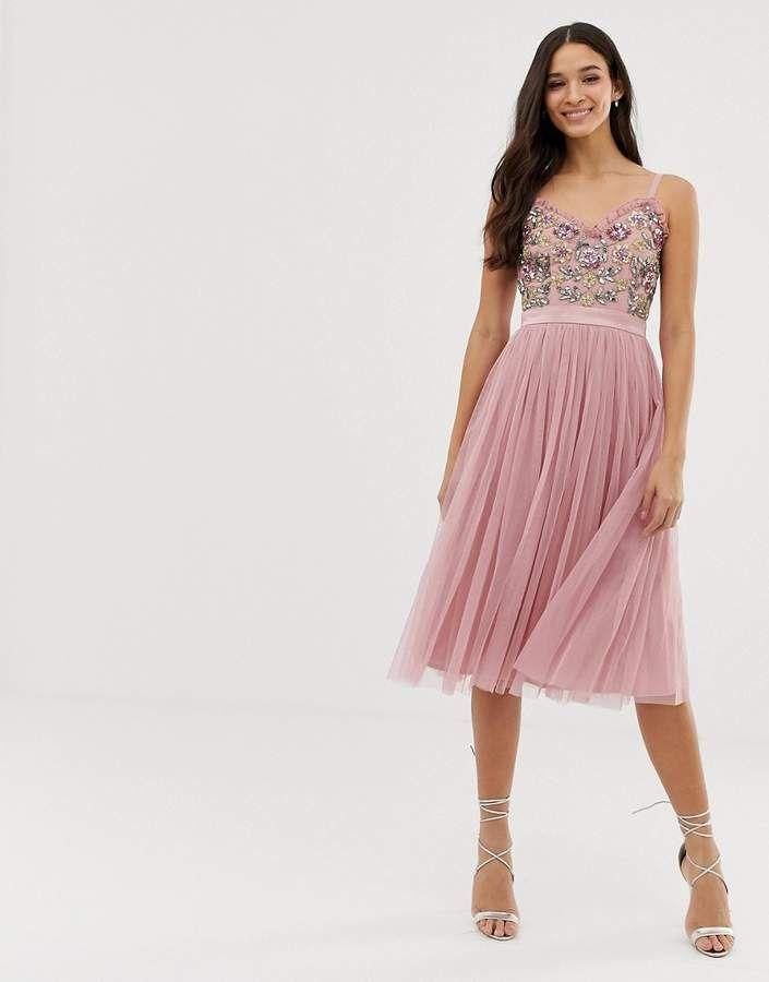 ae5c2d4d Maya cami strap contrast embellished top tulle detail midi dress in vintage  rose #contrast#