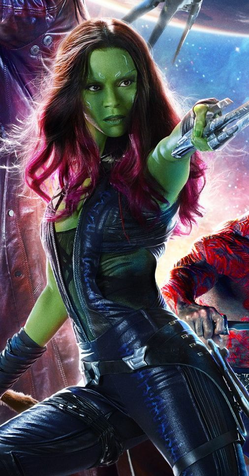 No Marvel movie can't pass without beautiful woman. Even if she's green Gamora ( Zoe Saldana)