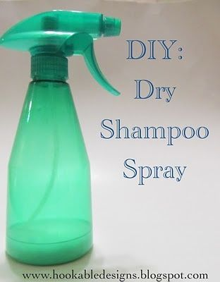 DIY Dry Shampoo... 1 tbsp of cornstarch 4 tbsp of water 1 tbsp of rubbing alcohol Mix it all up and pour into a small spray bottle. Shake before each use. Spray on your scalp, your hair or anywhere it needs de-greasing. You don't need to get your hair soaking wet, just a light mist. Then brush it out and style. Ta da! :)