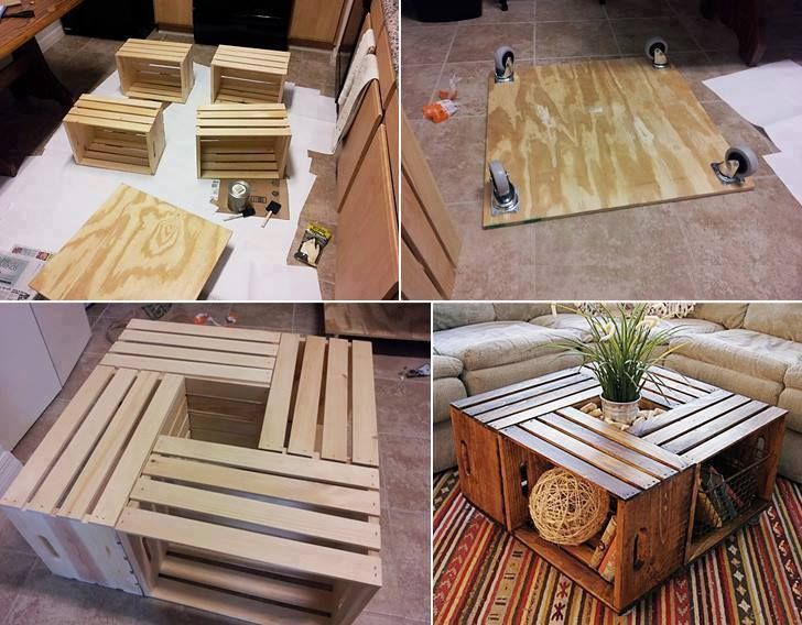 Create a coffeetable with lots of storage with 4 wood crates, plywood and 4 wheels. Looks great! Can stain or paint the wood