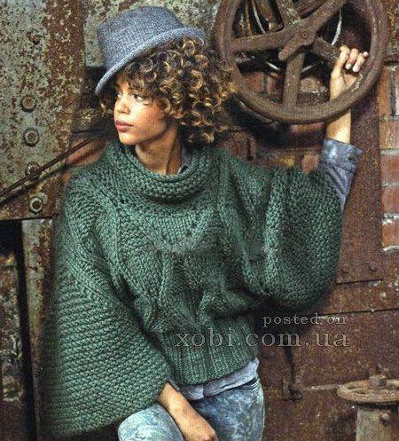 пуловер с широкими рукавами спицами