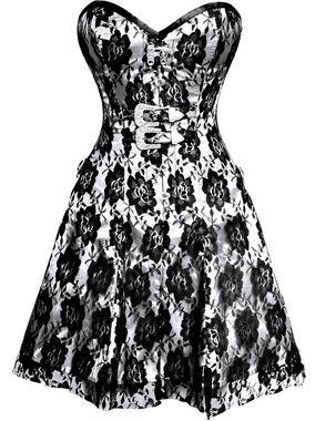 Black Rose on White Corset Dress
