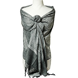 to the distinctive look of this women's shawl. The fabric is long enough and wide enough for different presentations.http://www.overstock.com/Clothing-Shoes/Womens-Silver-and-Black-Shawl-Wrap/6585105/product.html?CID=214117 $17.99