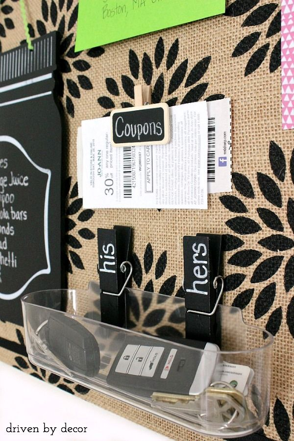 DIY Burlap Bulletin Board @cooklynn105 .. minus the pattern, straight burlap is nicer