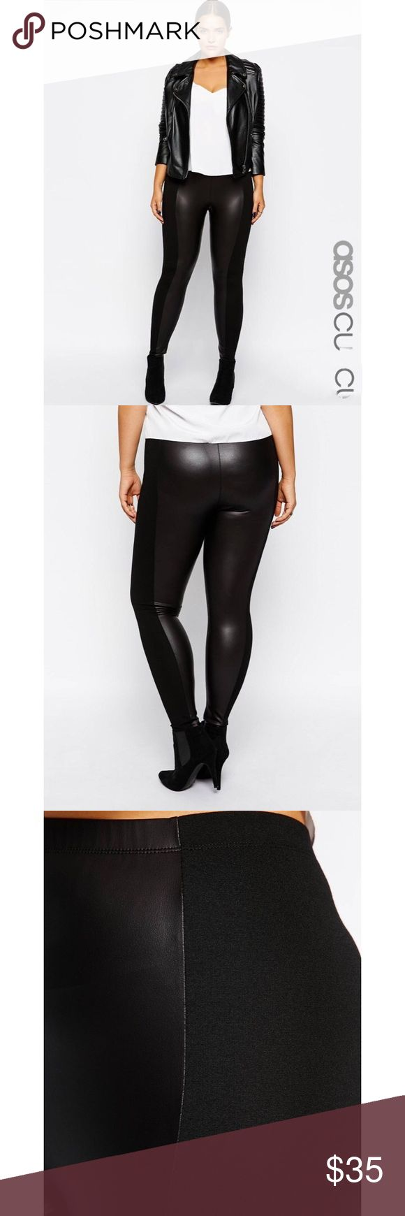 """High Waist Legging With Leather Look Panels US 16 PLUS SIZE LEGGINGS by ASOS CURVE Stretch fabric Leather-look panels High rise waist Regular fit - true to size Machine wash 72% Viscose, 24% Polyester, 4% Elastane Our model wears a UK 18/EU 46/US 14 and is 178cm/5'10"""" tall ASOS Pants Leggings"""
