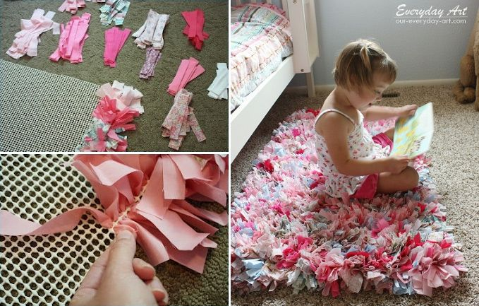 Super cute handmade rug! Think of all the colors you could use! All you need is a rug pad and old (or new!) t shirts!