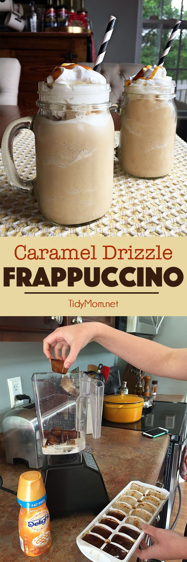 COFFE ICE CUBES are the secret to making a delicious FRAPPUCCINO at home! Homemade Caramel Drizzle Fappuccino is so easy to make at home and much cheaper than hitting up the coffee shops! get the recipe and directions for this frappuccino at TidyMom.net