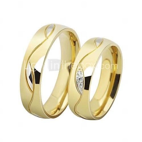 Anéis,Anéis de Casal,Jóias Casamento / Diário Aço Inoxidável / Chapeado Dourado Dourado / Preto8 Casal - USD $5.99