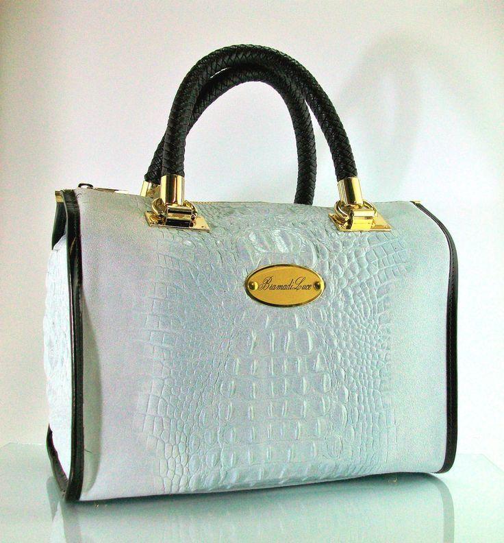 Borsa bauletto BramadiLuce artigianale in pelle Ghiaccio/Ice 30x20x17cm in Abbigliamento e accessori, Donna: borse | eBay
