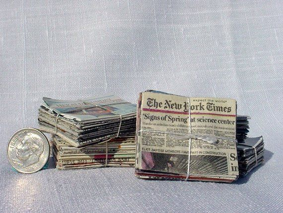 Miniature Bundles of Newspapers 1 inch by MarquisMiniatures