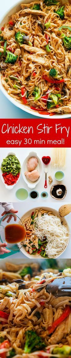 Chicken Stir Fry with Rice Noodles is an easy and delicious weeknight meal loaded with healthy ingredients. A one-pan, 30 minute chicken stir fry recipe. More tasty recipes on my Savory Recipes board! | Follow /gwylio0148/ or visit http://gwyl.io/ for more diy/kids/pets videos