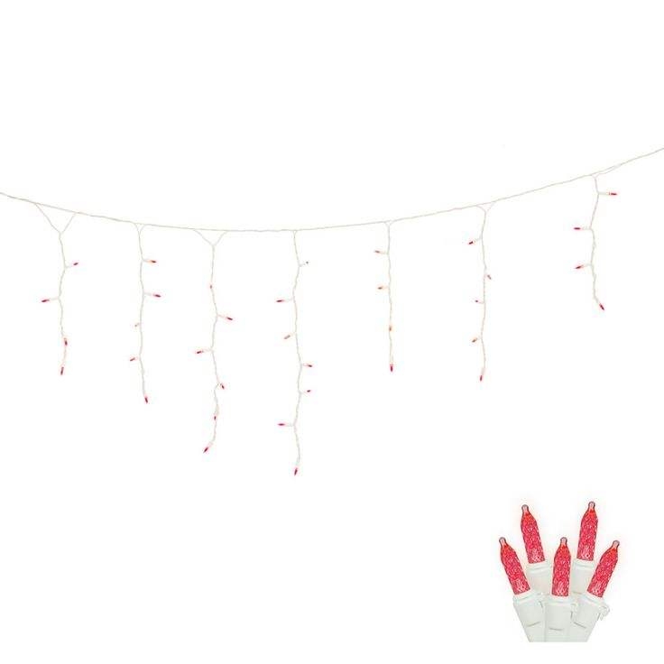 70 Red LED Lights / White Wire 9Ft. Icicle Christmas Light Set