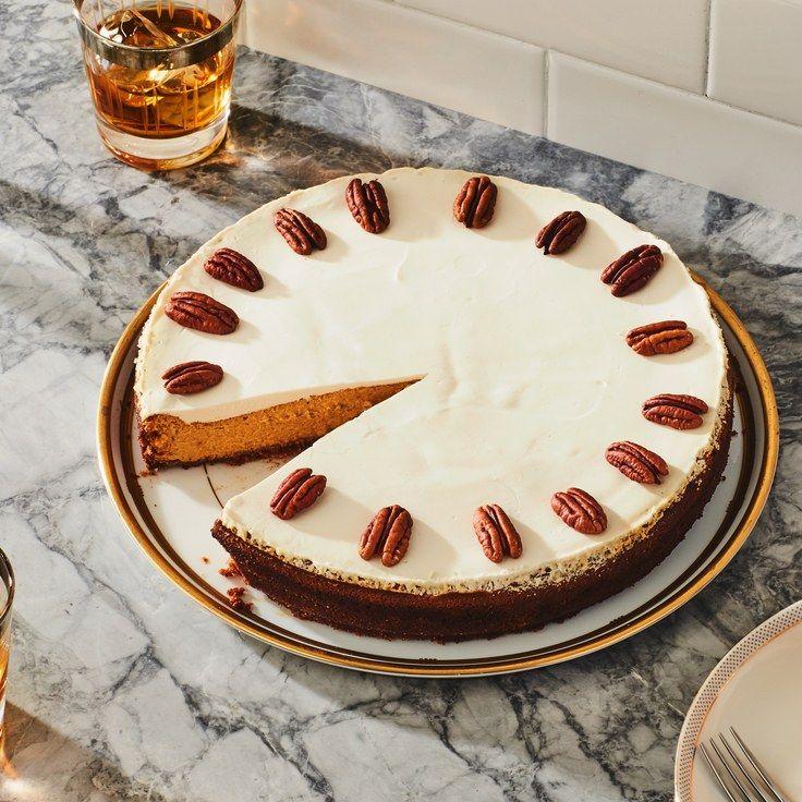 Pumpkin Cheesecake With Bourbon Sour Cream Topping Recipe Pumpkin Recipes Dessert Pumpkin Cheesecake Best Christmas Desserts