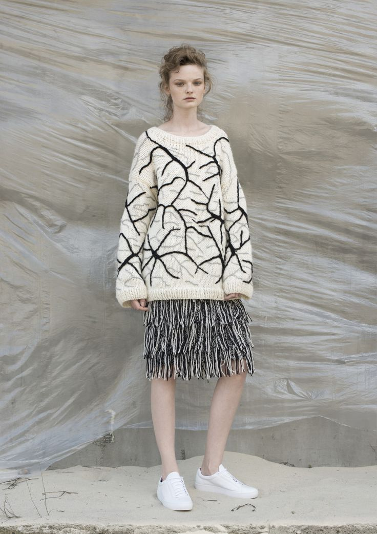 Anna Dudzińska, NATURAL THING, aw2016, sweater SCRASH, skirt MONOCHRO. To download high or low resolution product images view Mondrianista.com (editorial use only).