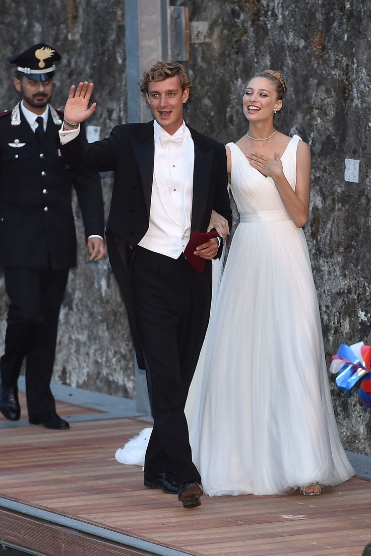8.01.15  Beatrice Borromeo in custom Armani Privé for evening reception of her wedding to Pierre Casiraghi in Stresa, Italy