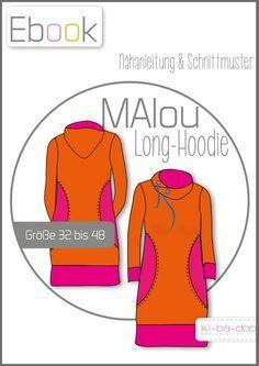 Ebook MAlou Damen-Long-Hoodie - Schnittmuster und Anleitung als PDF, versandkostenfrei