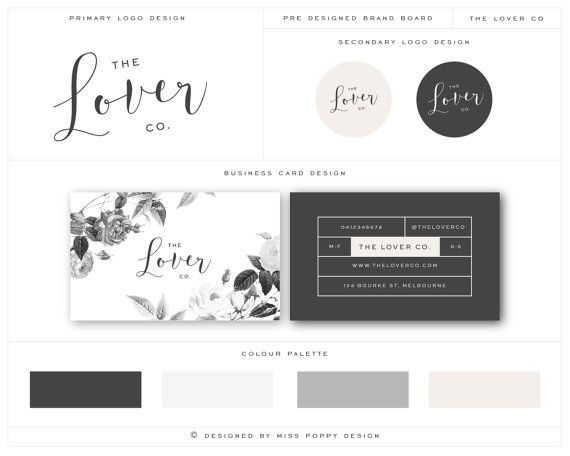 Give your business a chic and professional look with this clean and modern business card, logo and label package by Miss poppy Design / Brand Board / Logo Design / Modern / Business Card Design / Vintage / Floral