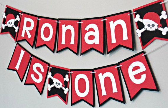 Pirate Birthday Party Banners. Perfect for your pirate party! Repin for later or check out this item in my Etsy shop https://www.etsy.com/ca/listing/499379764/pirate-birthday-party-banner-skull