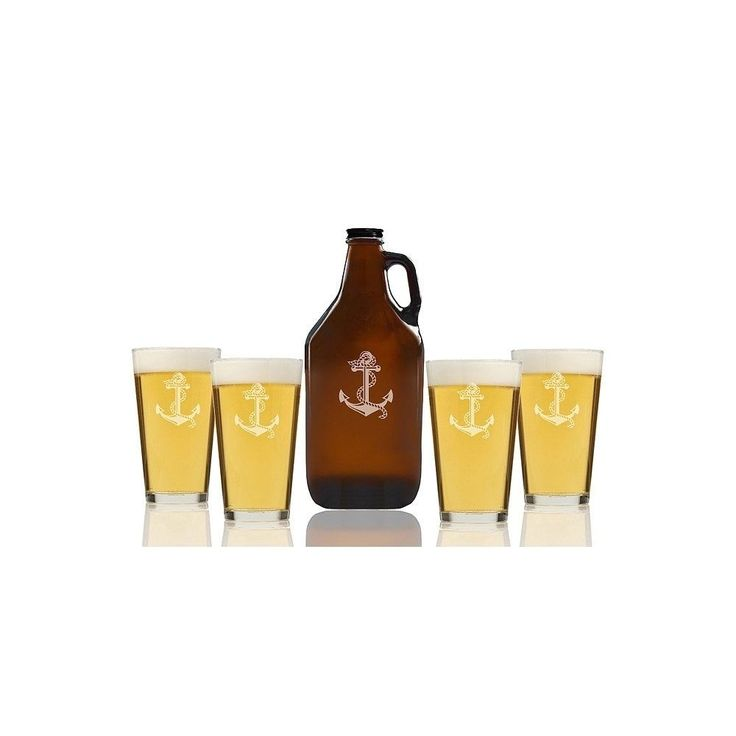 Madison Anchor Beer Amber Growler and Pint Glasses (Set of 5), Brown