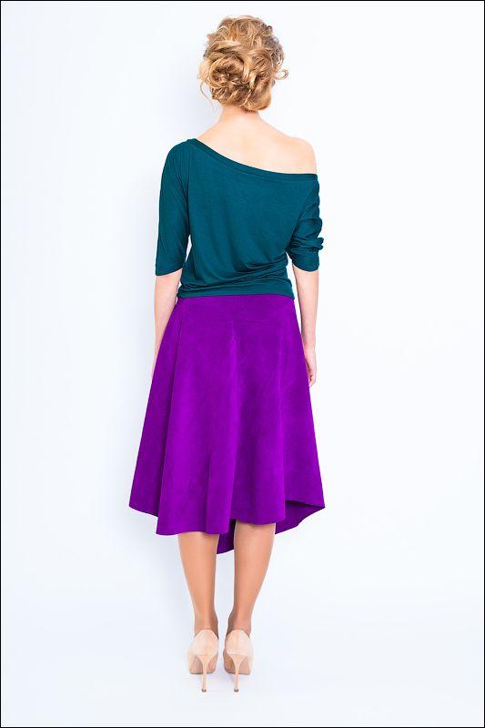 Фиолетовая замшевая юбка UONA, коллекция Весна-Лето 2014.