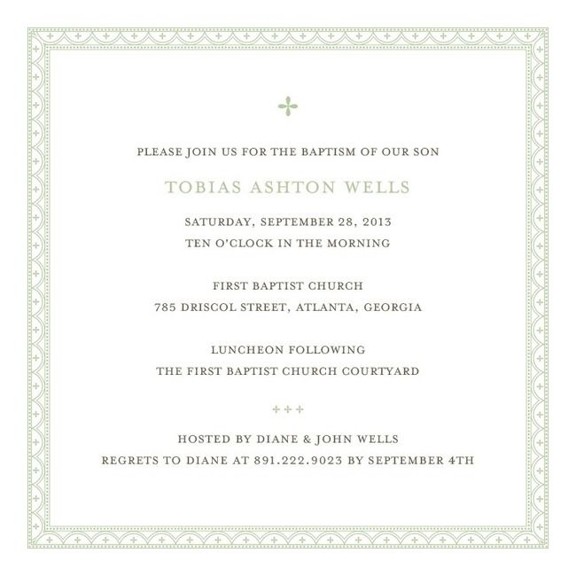 DELICATE BORDER: PISTACHIOBAPTISM, CHRISTENING INVITATIONS