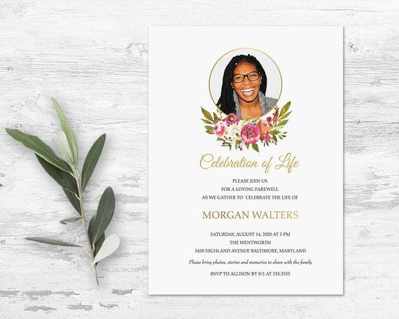 Celebration Of Life Invitation Template Funeral Announcement Photo Memorial Service Invitations Pink Gold Floral Printed Or Digital File Funeral Invitation Celebration Of Life Memorial Service Invitation