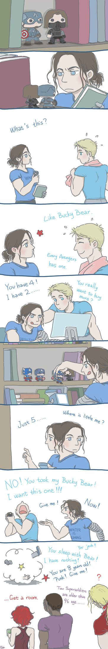 "I must to back to work... my boss will kill me... This is ""when Steve and Bucky become babies""... I will draw this comic story XD First I must working...sad... I will be back after May.15"