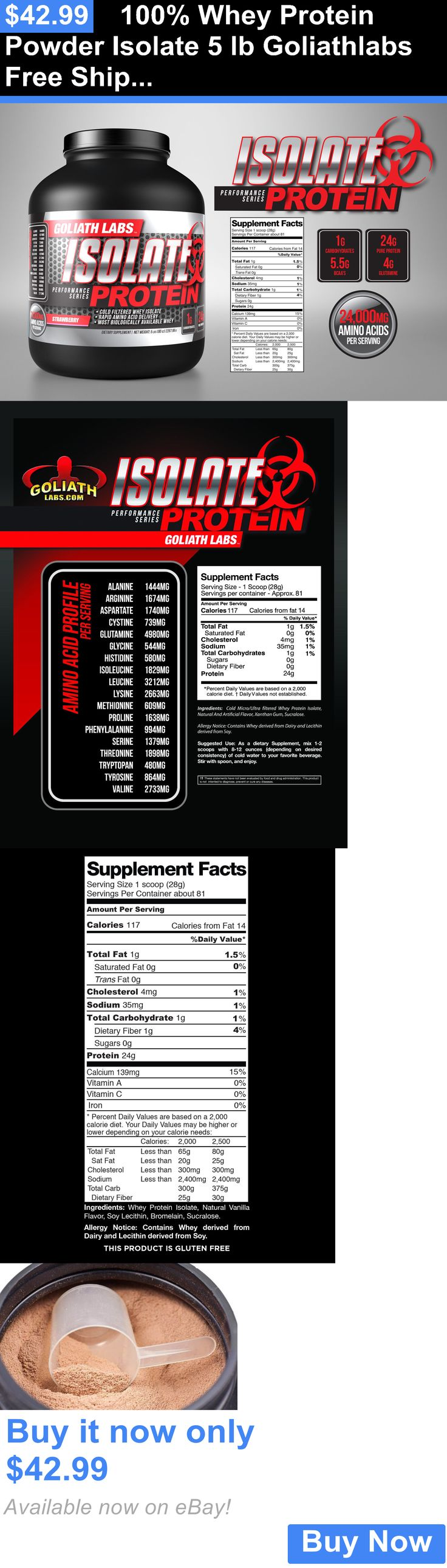 Protein Shakes and Bodybuilding: 100% Whey Protein Powder Isolate 5 Lb Goliathlabs Free Shipping BUY IT NOW ONLY: $42.99