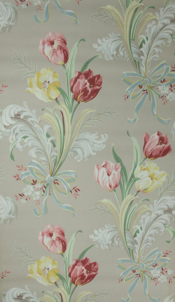 vintage wallpaper feathers and tulips