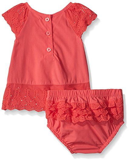 Amazon.com: Calvin Klein Baby-Girls Peached Poplin with Eyelet Trim Top and Panty, Red Icing, 18 Months: Clothing