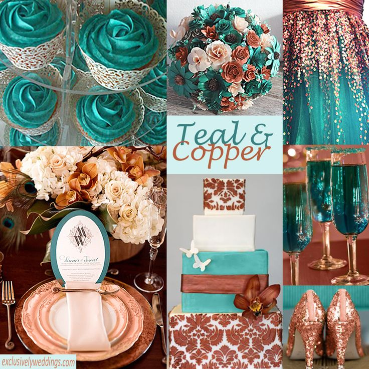 Teal and Copper Wedding Colors. So, SO pretty. I think I would incorporate more rose gold type of colors rather than the harsher browns. Maybe a little bit of a pink flower for the bouquet (I don't like brown)