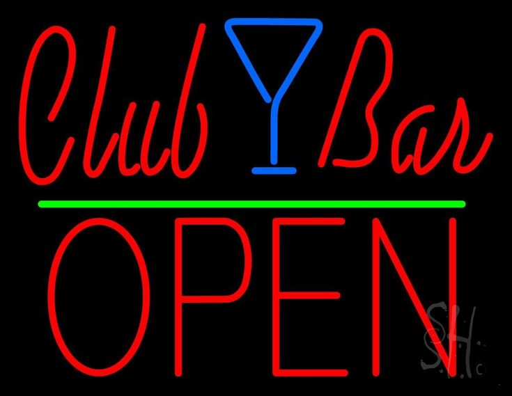 Club Bar With Martini Glass Open Neon Sign 24 Tall x 31 Wide x 3 Deep, is 100% Handcrafted with Real Glass Tube Neon Sign. !!! Made in USA !!!  Colors on the sign are Red, Blue and Green. Club Bar With Martini Glass Open Neon Sign is high impact, eye catching, real glass tube neon sign. This characteristic glow can attract customers like nothing else, virtually burning your identity into the minds of potential and future customers.