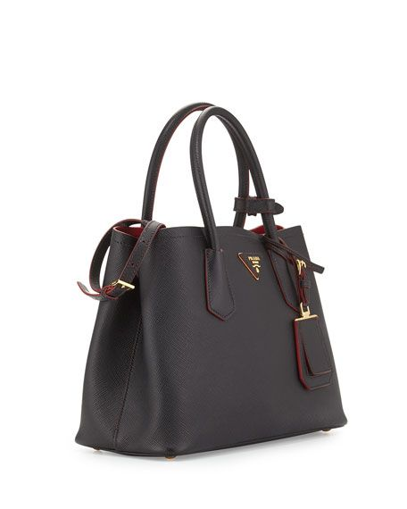 bdd309bb8621 Saffiano Cuir Double Bag Black Red (Nero+Ciliegia)