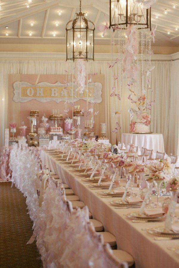 Good Adorable Girl Baby Shower With Butterflies + Lanterns |  Wildflower_linen_Dessart_Designs_Slickforce_Studio 8