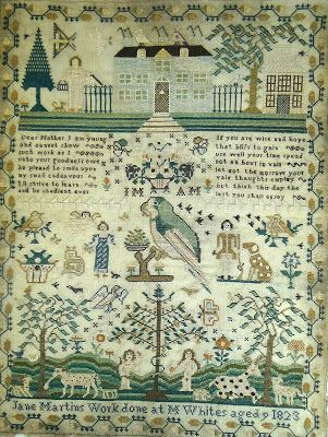 At the same Rogers Jones & Co auction is Lot 69 - another early 19th century child's needlework sampler in the traditional pictorial and poetic style, this sampler is signed, Jane Martins work done at M Whites aged 9, 1823. It measure 17 x 13ins and has an estimate of £100 - £150.
