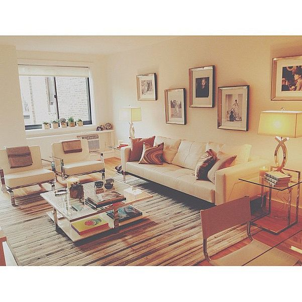Gigi and Yolanda thought of the living space in its entirely, not as a collection of a rug, sofa, and chairs. Throughout the space they emphasized common themes, including clean lines, chrome, books, and the color white.  Source: Instagram user gigihadid