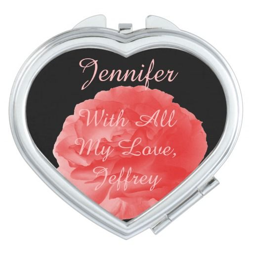 """Personalized Compact Mirror Coral Rose Heart This heart shaped personalized compact mirror is decorated with a photo of a beautiful coral rose on a black background. Easy to personalize or delete example text. What a wonderful birthday or Valentine's Day gift. Default text is """"With All My Love"""", but can easily be personalized for any name or sentiment. Original photograph by Alan and Marcia Socolik. All Rights Reserved © 2014 Alan & Marcia Socolik."""