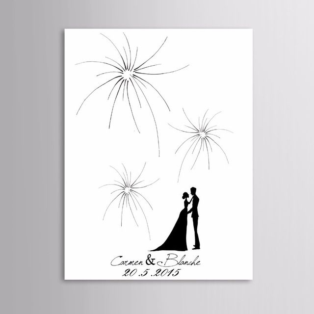 40x60CM 100 guests Unique Firework Wedding Fingerprint Guestbook Canvas Wedding Guest Book casamento arvor for bridal shower