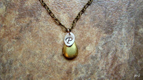 Tiny Teardrop Locket Necklace with Initial by BellaDonnaJewelryCo, $22.50