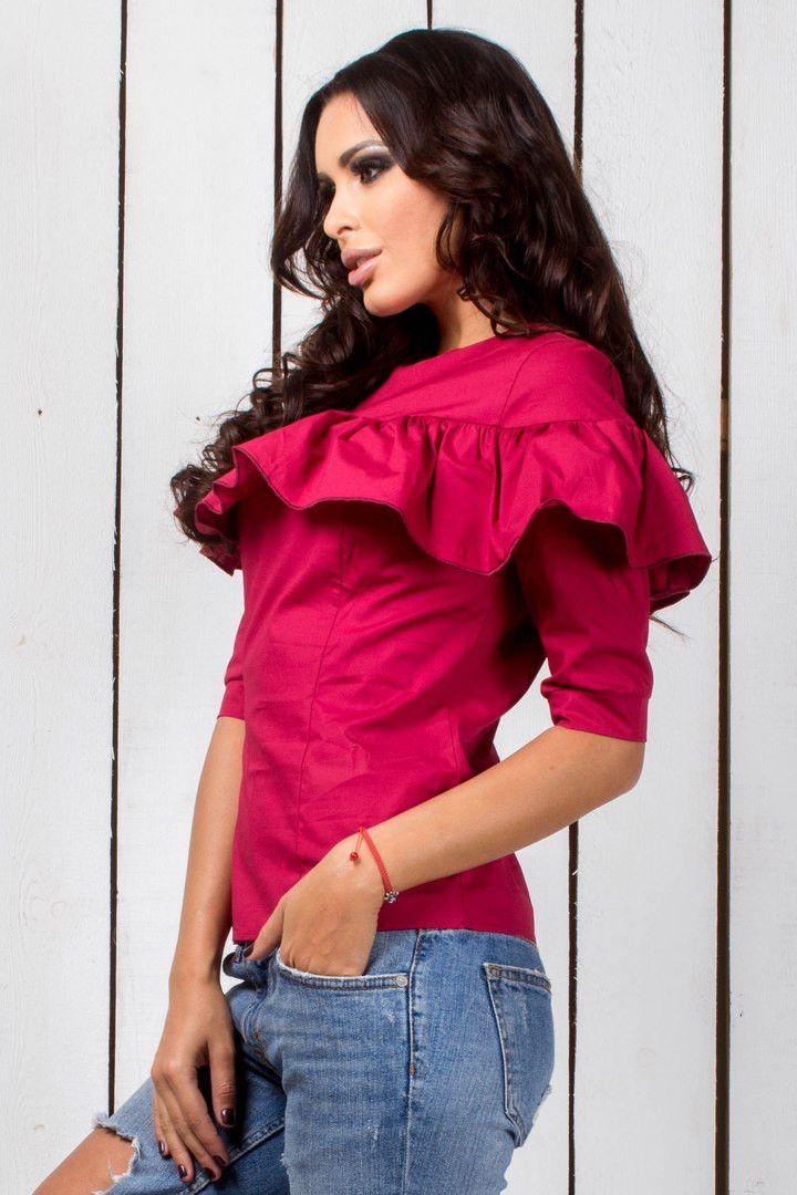 """Стильная блузка с рюшами бордового цвета: продажа, цена в Одессе. блузки и туники женские от """"Интернет-магазин стильной одежды """"x04y"""""""" - 477728401"""