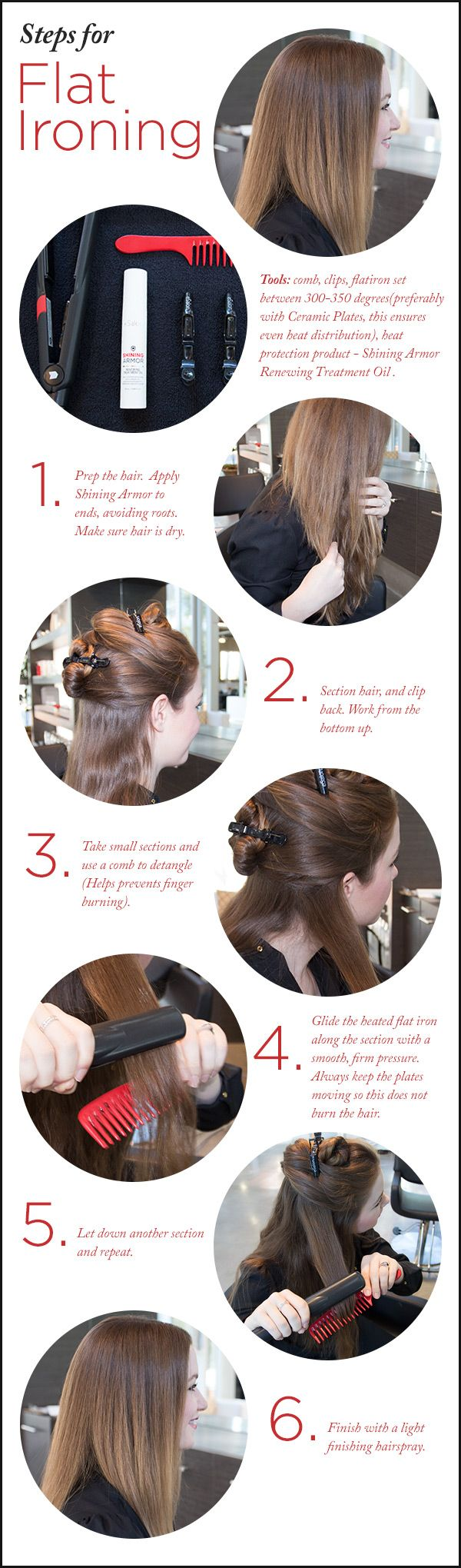 How to flat iron hair.