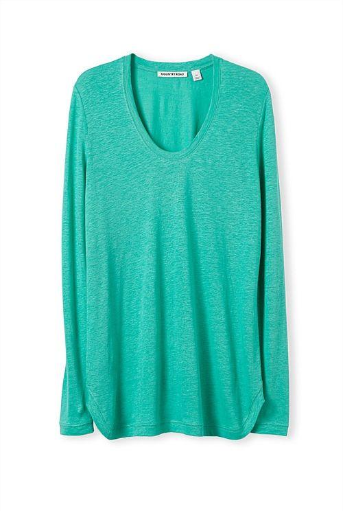 Linen Shirt Tail T-Shirt