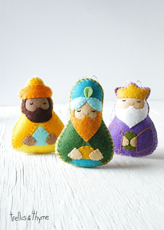 Solemn and sweet, the Magi (Three Wise Men) felt ornaments bring old world charm and modern whimsy to your holiday decor. Part of Trellis & Thymes
