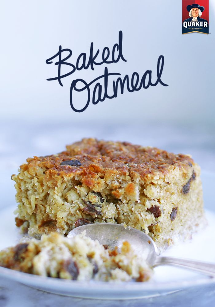 Now here's a delicious and easy oat recipe you'll have to try soon. Simply combine Quaker® oats, brown sugar, dried cranberries, ground cinnamon and salt with skim milk, egg whites, vegetable oil, vanilla and fruit yogurt and bake for an hour. Once your hour spent watching TV, cleaning around the house or raking leaves is up, you'll have a warm and yummy cake of baked oatmeal. As always, we suggest serving with milk. ;)