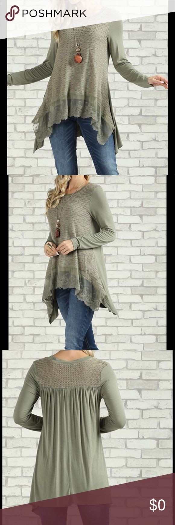 🆕 Lace Accent Side Tail Tunic Long Sleeve A Beautiful Sage Green Tunic.  A playful hem and eye-catching paneling elevate this top from simple to chic. Size S: 28'' long from high point of shoulder to hem Model (wearing size S): 5' 8'' tall; 34'' chest; 25.25'' waist; 36.75'' hips Knit. Shell: 100% acrylic Contrast: 95% rayon / 5% spandex Imported. 1028201726807042 Tops Tunics