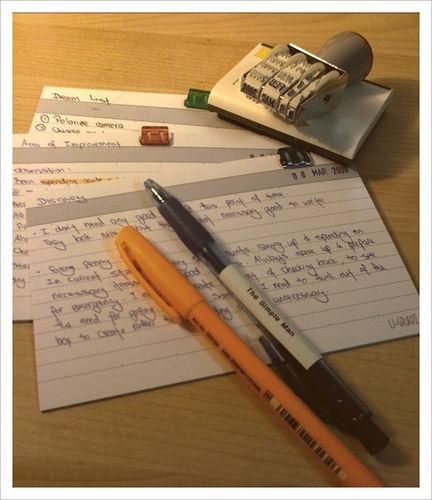 Before taking a test, write down all the relevant information you can think of on an index card, as though it were a piece of paper you were allowed to bring with you. // STUDYING HACKS