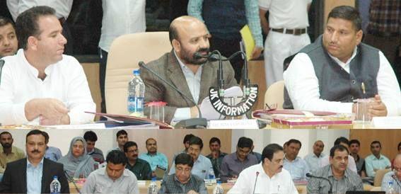 Minister for Health Bali Bhagat chairing DDB meeting at Kishtwar on Monday.
