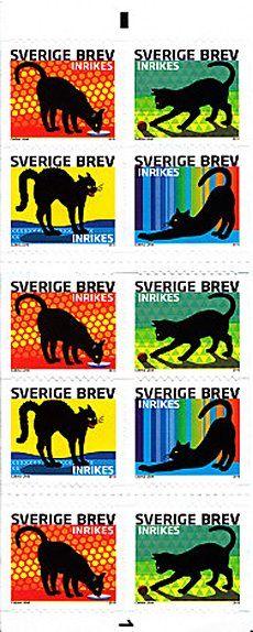 swedish cat stamps designed by carina länk.